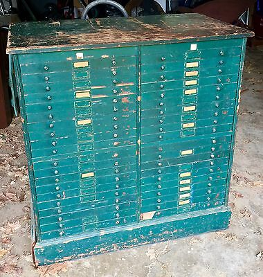 Antique 44 Drawer Printers Cabinet