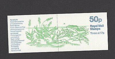 POND LIFE COMMON FROG STARRED PAPER 50p BOOKLET  MNH