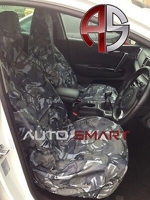 Renault Traffic (01+) Camouflage Dpm Camo Seat Covers Grey Waterproof 1+1