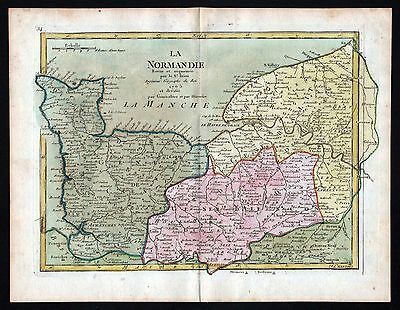1765 Normandie France gravure carte Karte map Kupferstich antique print Le Rouge