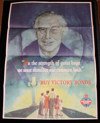 """Authentic 1940s Franklin D. Roosevelt """"Buy Victory Bonds"""" WWII Poster FDR"""