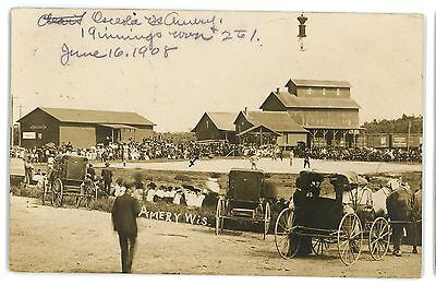 RPPC BASEBALL Game by the Railroad Depot AMERY WI Vintage Real Photo Postcard