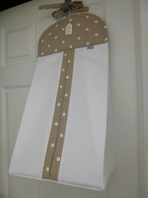 Bespoke Baby Nappy Stacker  Taupe/White Dotty Clarke & Clarke  Cotton Trim -BNWT