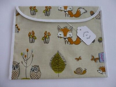 Handmade Baby Health Red Record Book Holder - 'Woodland Fox'  Oilcloth - BNWT