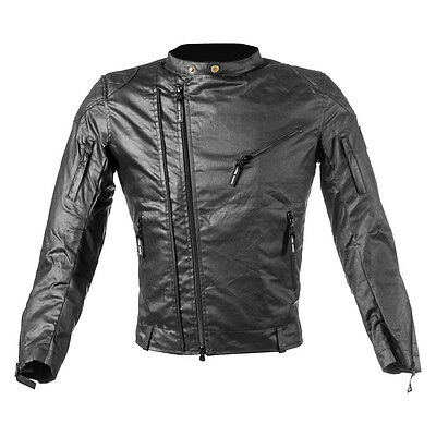 New Men's Wax Cotton Black Textile Motorbike & Motorcycle Armoured CE Jacket
