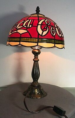 Tiffany Style Coca-Cola Stained Glass Table Lamp Vintage, 2003.