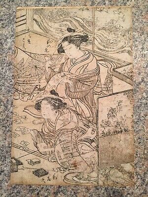 18th Century Japanese Woodblock Print Geishas