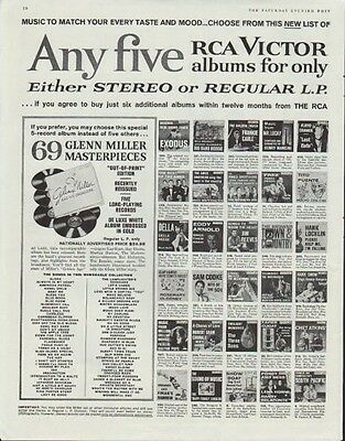 """1961 RCA Victor Ad """"Any five"""""""