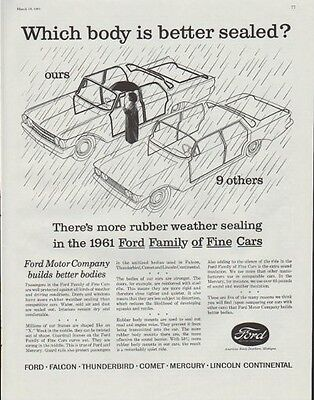 "1961 Ford Motor Company Ad ""Which body is better sealed?"""