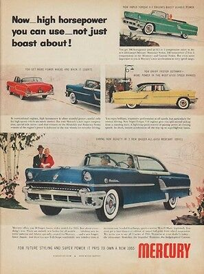 "1955 Mercury Ad ""high horsepower"""