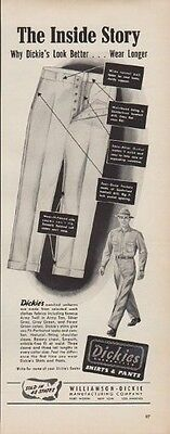 """1950 Dickies Ad """"The Inside Story"""""""
