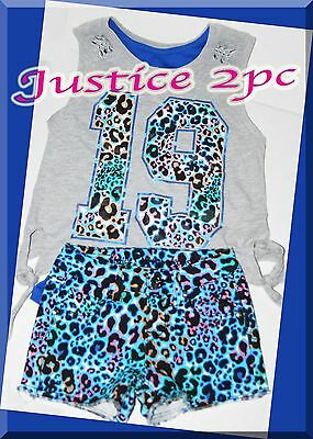 NWT Justice Girls Size 7 or 8 Tank Top Shirt & Denim Shorts 2-PC OUTFIT SET LOT