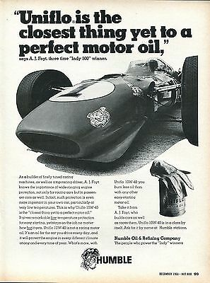 1968 Humble Oil Company Uniflo Motor Oil Indy 500 Winner A. J. Foyt Tiger Ad