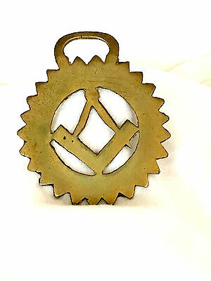 Vintage Brass Horse Harness/bridle/medallion/ornament - Masonic Square & Compass