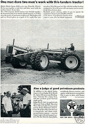 1959 Print Ad of Texaco Havoline Motor Oil with John Deere Tandem Tractor