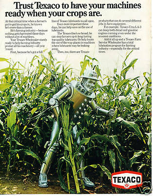 1974 Texaco Oil Farm Industry Wizard Of Oz Tin Man in Corn Field Print Ad