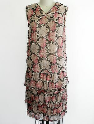 Vintage 1920s 20s ruffled floral silk chiffon & tambour net lace flapper dress