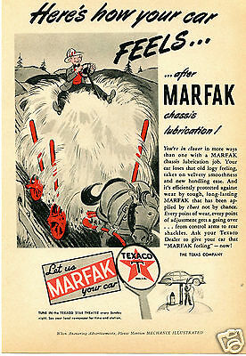 1944 Texaco Marfak Chassis Lubrication Print Ad Let us Marfak Your Car