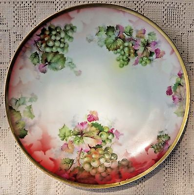 Antique Imperial Austria Empire -  Hand Painted Grape Design Plate W/ Gold Trim