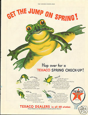 1954 Texaco Get The Jump On Spring! Frog Print Ad