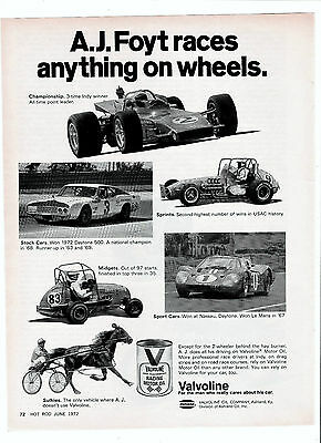 1972 Valvoline Racing Motor Oil A.J. Foyt Races Anything On Wheels Print Ad