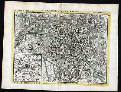 1767 Paris France plan carte gravure map Kupferstich antique print Le Rouge