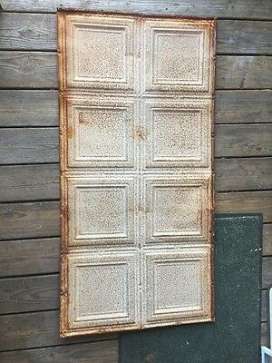 ANTIQUE TIN CEILING TILE 2x4 FEET 24x48 INCHES ART DECO METAL DOUBLE ORNATE VTG.