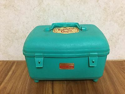 Vintage Unbreakable Re-Usable Transogram 3499 Embroidery Outfit Hard Train-Case