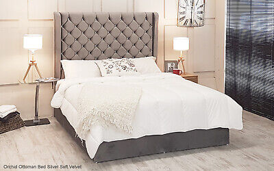 Orchid Wing Gas Lift Ottoman Bed Silver Crushed Velvet Fabric - Diamante Buttons