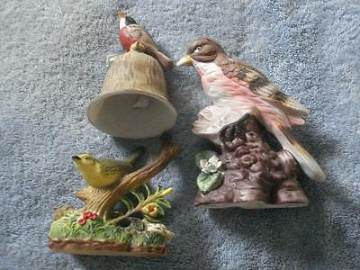 Vintage Lot Of 3 Ceramic & Plastic Bird Figurines & Bell