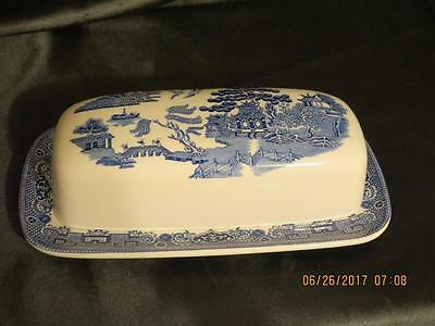 JOHNSON Bros. England 'BLUE WILLOW' 1/4 lb Covered BUTTER DISH~Excellent Cond.
