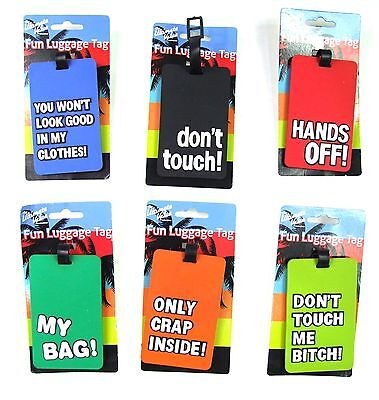 Novelty Fun Travel Suitcase Label Address ID PVC Name Holiday Luggage Tags