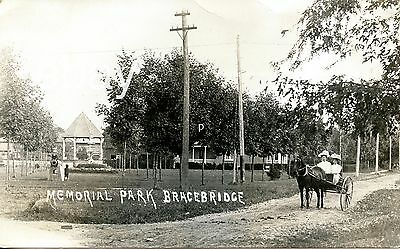 Rare Muskoka Rppc Bracebridge Photo Postcard Memorial Park Buggy Ontario