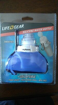 Life Gear Silicone Collapsible Water Bottle 20 oz for Gym Hiking Cycling NEW