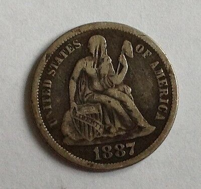 1887 Silver Seated Liberty Dime (Variety 4)