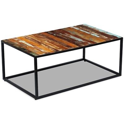 #vidaXL Solid Recycled Timber Side Coffee Table Steel Frame Living Room Antique