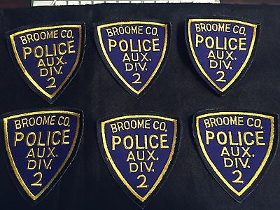 6 - Mint Broome County Police Auxiliary Division 2 Patches Nos Civil Defense