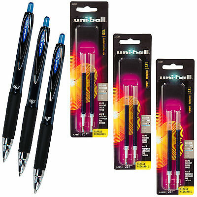 UniBall Signo 207 Blue Gel Ink Rollerball Pens With 3 Packs Of Refills, 0.7mm
