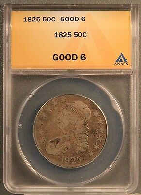 1825 50C Capped Bust Half Dollar Certified ANACS GOOD 6