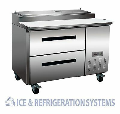 """Sun Ice Commercial 48"""" Pizza Prep Drawer Refrigerator Cooler Table SUNPT-44-2D"""