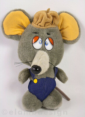 Applause Squeeky Mouse Plush Gray Rat Overalls Stuffed Giordano Art Vintage