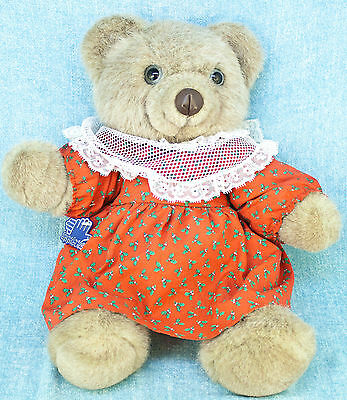 "Applause Grandma Rosie Teddy Bear 16"" Plush Jointed Brown Red Christmas Dress"