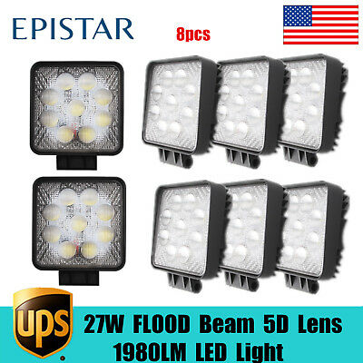 8pcs 27W LED 5D Work LIght Flood Driving Fit Jeep SUV TOP Truck Boat Toyota Cube
