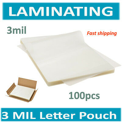 """3 Mil Thick Clear Letter Size Thermal Laminating Pouches 9"""" x 11.5"""" Qty 100"""
