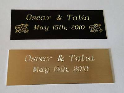 "3""W x 1""H Personalized black brass or gold aluminum engraved plate"
