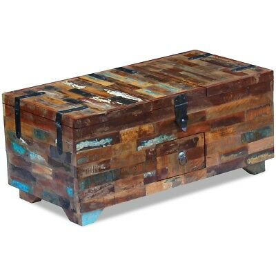 #vidaXL Solid Recycled Wood Coffee Table Blanket Box Storage Chest Trunk Antique