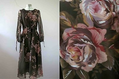 70s Brown Pink Floral Tea Dress Small Medium Buy 3+ items for FREE Post