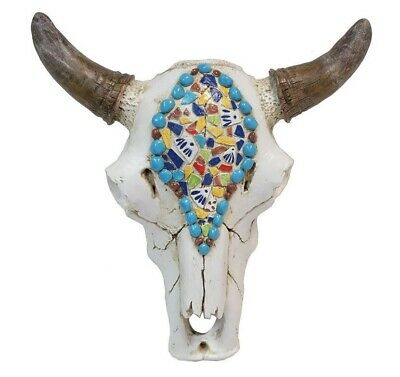 Rustic & Realistic Bull Skull With Faux Stones Multi-Color Inlay -- Wall Mount
