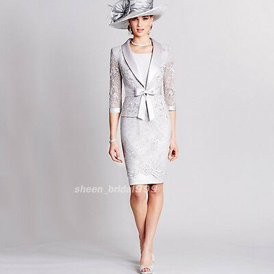 2017 England Style Elegant Gray 3/4 Sleeve Mother of the Bride Dress with Jacket