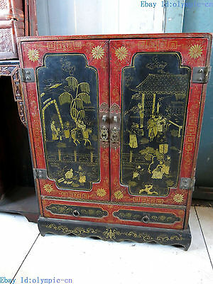 "27"" China old handwork lacquerware picture wood fine wardrobe Cabinet Statue"